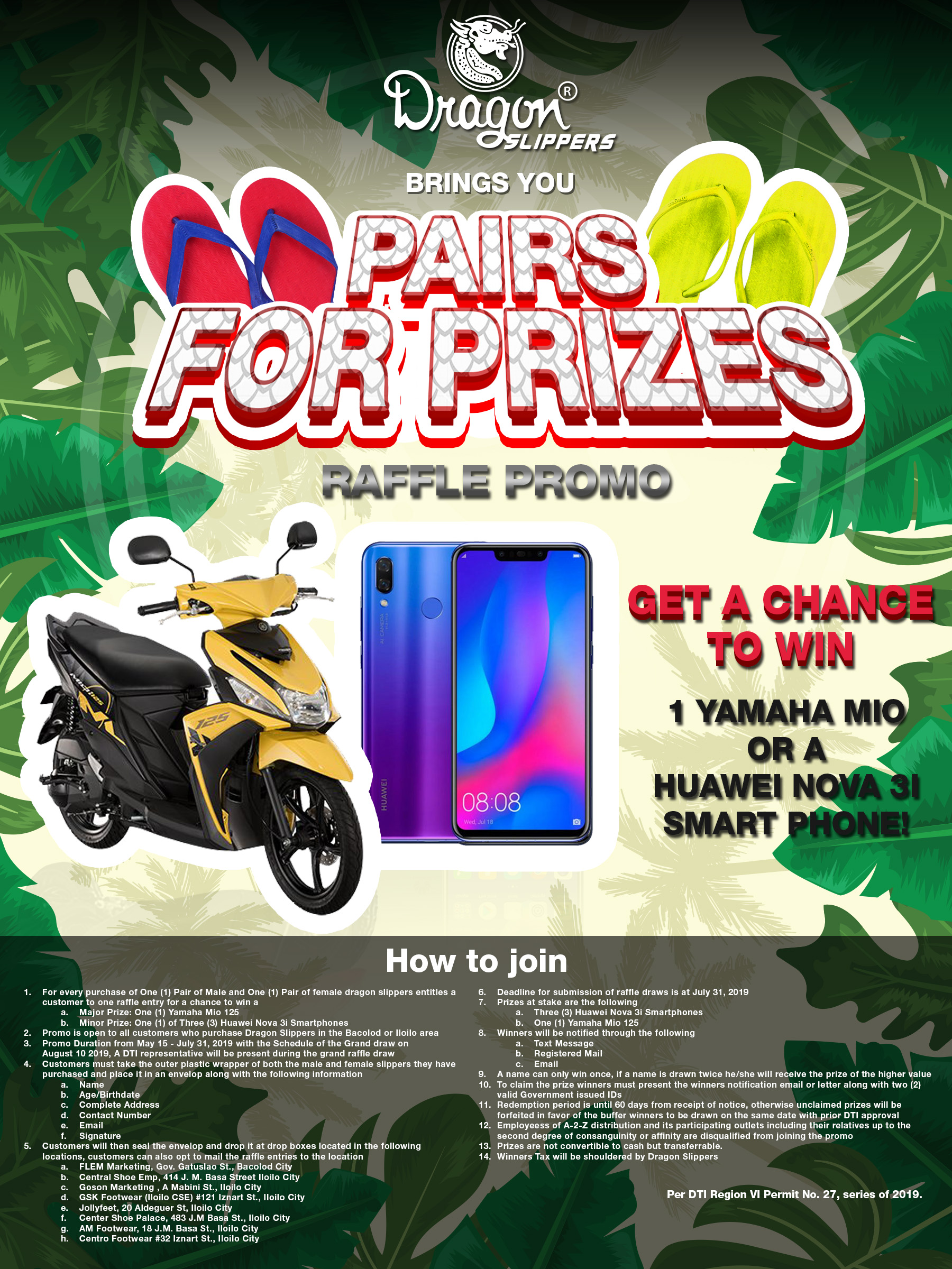 DRAGON SLIPPERS PAIRS FOR PRIZES PROMO